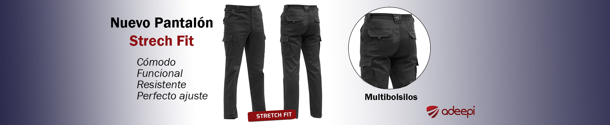 Pantalón multibolsillos Stretch Fit Adeepi